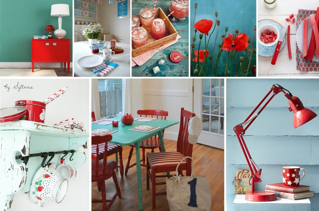 moodboard teal-turqoise-red