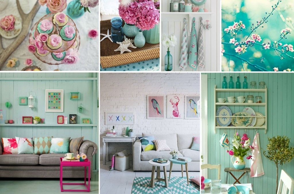 moodboard turquoise-roz